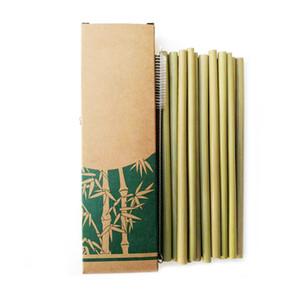 Utili cannucce di bambù riutilizzabili cucina ecologica riutilizzabile del partito + spazzola pulita per trasporto di goccia all'ingrosso 50 pz / lotto