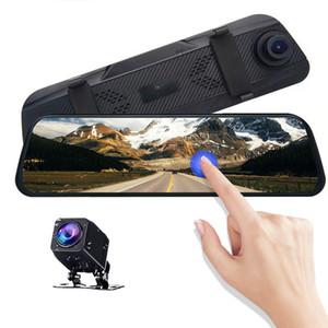 """10"""" pantalla táctil IPS de corriente del coche DVR de la cámara de medios espejo retrovisor frontal 170 ° hacia atrás 140 ° ángulo de visión amplio 1080P visión nocturna clara"""
