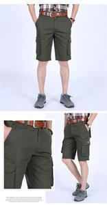 Estate del progettista del Mens Cargo Shorts Solid Color Plus Dimensione Uomo allentati Pantaloni Maschi Pantaloncini casual con tasche