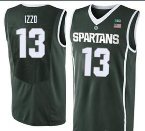 Özel erkekler Gençlik kadınlar Vintage Michigan State Spartalılar # 13 Steven Izzo Basketbol forması boyutu S-4XL veya özel herhangi bir isim veya numara forması