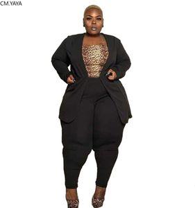 Plus Size XL-4XL Women Winter Women Set Tracksuit Blazers Pants Suit Two Piece Set Office Lady Business Uniform Outfits GL710
