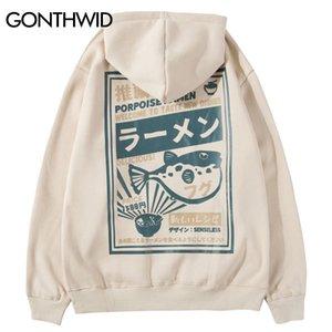 GONTHWID Puffer Fish Ramen Print Fleece Hoodies Hip Hop Casual Pullover Hooded Sweatshirt Men Harajuku Casual Fashion Streetwear Y200704