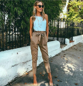 Gray Women pencil Pants 2019 New Fashion Female Trousers Solid Slim Stretch Drawstring Trousers Green Red Sexy Party Club Pockets Pants