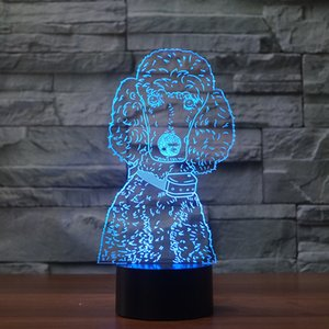 Çocuklar Kid Oyuncak 3D Köpek Şekli Lambası LED Illusion Gece Işığı Yaratıcı Dokunmatik Lampara USB Dokunmatik Kontrol Gece Lambası Yılbaşı Hediyeleri