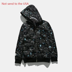 Mens shark mouth Jackets Autumn Winter Coat Letter Printing Color Black Jacket for Men and Women Asian Size M-2XL