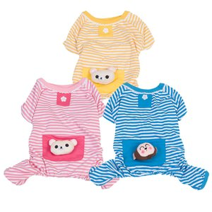listradas quatro roupa patas de algodão pet pijama bonito bolso pet pijama gato algodão Teddy roupa do cão outono e inverno