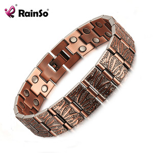 Rainso 2019 Vintage Pure Copper Magnetic Pain Relief Bracelet For Men Therapy Double Row Magnets Link Chain Homme Drop-ship J190707