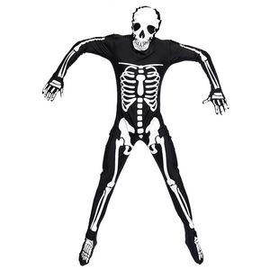 Halloween Party Костюм Человек Взрослый Страшный Череп Скелет Костюмы Длинный Комбинезон Зентаи Костюм для Мужчин