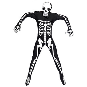 Costume da festa di Halloween Uomo Costumi da scheletro spaventoso per adulti Tuta lunga Tuta da uomo Zentai