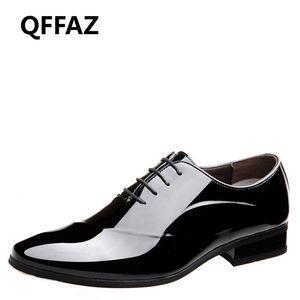 QFFAZ en cuir verni Oxford chaussures pour hommes habillées chaussures hommes formelle bout pointu affaires lacer le mariage