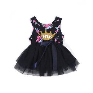 Kid Meninas Princesa Do Bebê Vestido de Bebê Recém-nascido Da Menina Do Bebê Roupas Roxo Coroa Floral Impressão Tutu Vestido De Baile Vestidos de Festa