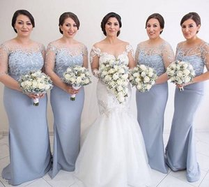 2019 High Quality Long mermaid Bridesmaid Dresses sheer neck half sleeves Sweep Train Wedding Guest elastic stain Maid Of Honor Dresses