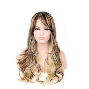 Mixed Color Curly Synthetic Wigs With Bangs Long Natural Wave None Lace Synthetic Wig For Women High Temperature Fiber Cosplay Wigs