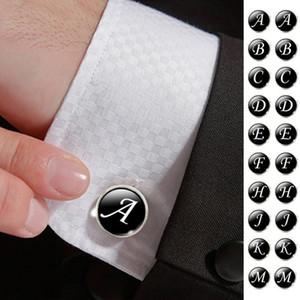 Мужчины запонки алфавит одно письмо черное дно посеребренная свадьба старинные 16 мм мужчины запонка D19011003