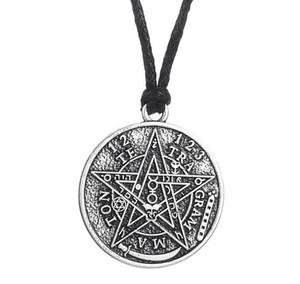 Designer pentagramma collana d'argento d'epoca gotici Supernatural Amuleto Tetragrammaton Pentacolo pendenti di collana Wiccan per i monili delle donne