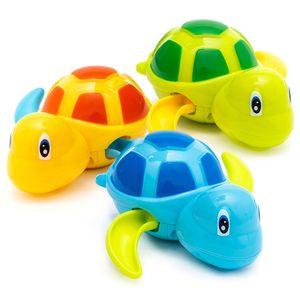 2020 귀여운 만화 동물 거북이 클래식 아기 물 장난감 유아 수영 거북이 상처 업 체인 시계 키즈 비치 목욕 장난감