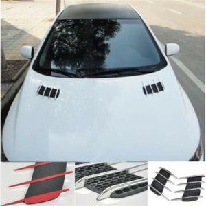 Noir / Sliver Paire de voitures Side Air Flow Vent Fender Couvercle de l'orifice d'admission Grille Duct Décoration ABS plastique autocollant