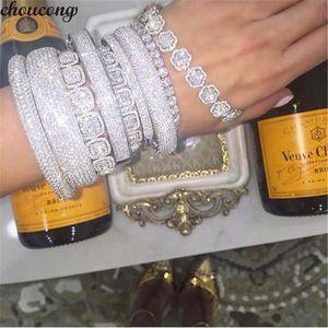 Vecalon 20 Estilos Brazalete hecho a mano 5A circonia cúbica Oro blanco lleno de pulseras del partido Brazaletes para mujeres hombres accessaries de la boda