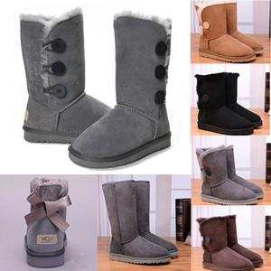 design classique Australie femmes bottines de fourrure triple neige luxe mode rose bleu marine gris noir botte chaussures femme d'hiver de taille 36-41
