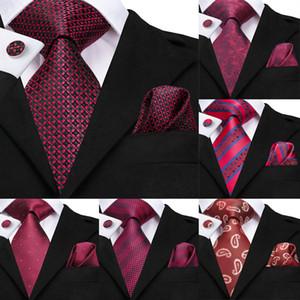 Привет-Tie бургундские Галстуки для мужчин плед Tie Set Silk Cravate Deep Red Проверил шеи галстук Платок Запонки съемный воротник