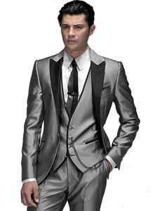New Arrival Groomsmen Silver Grey Groom Tuxedos Peak Lapel Men Suits Wedding Prom Dinner Best Man Blazer ( Jacket+Pants+Tie+Vest ) G75