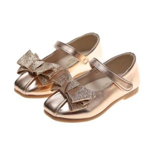 Girls leather shoes 2020 new autumn children's soft sole with bow shallow mouth single shoes little girl princess