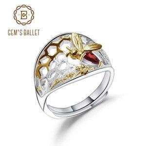 BALLET GEM'S النحلة العسل مجموعة حلقة 925 فضة 0.28Ct العقيق الأحجار الكريمة الطبيعية حلقة اليدوية للنساء مجوهرات الجميلة