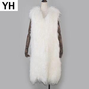 Señora Real Mongolia ovejas piel chaleco 100% Natural X-largo estilo ovejas lana piel Chaleco de cuero invierno Mongolia gilet