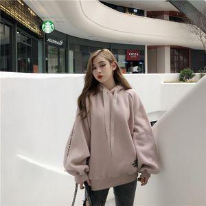 Hoodies Women Fleece Long Sleeve Solid Color Hooded Sweatshirt womens clothing Letter Harajuku Print Pullover Thick Loose hoddie