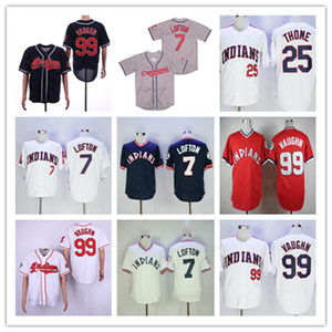 Ncaa Ricky Vaughn Jersey 2018 Hall Of Fame Cleveland Vintage Kenny Lofton Jim Thome costurado camisas brancas Red Navy Grey S-3XL