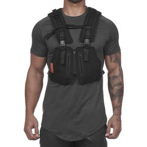 Nouveaux Streetwear veste tactique Hommes Hip Hop Street Style Rig Sac de téléphone poitrine Mode bande réfléchissante CargoWaistcoat avec poches