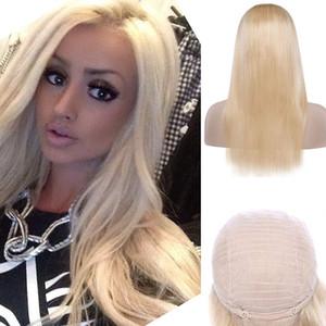 Perruque avant de lacet de cheveux vierges mongols 613 # Blonde Naturel Couleur soyeux Droite 8-28 pouces Perruque avant de lacet 613 # Blonde