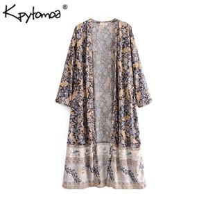 Boho Chic Sommer Vintage Blumendruck Kimono Frauen 2019 Mode Hülse Mit Drei Vierteln Lose Strand Blusen Shirts Blusas Mujer Y19062501