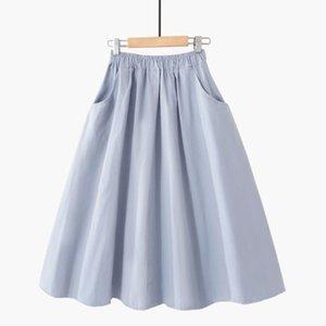 Spring Summer Solid cotton Skirt Women Elastic High Waist midi Skirts Femme With Pocket Simple Black Skirt Women Korean