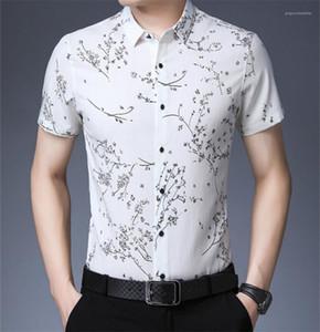 Hommes T-shirts d'été imprimé floral Hommes Polo manches courtes Mode Lapel T-shirts Casual Slim