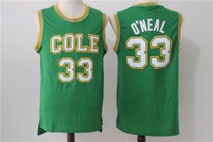 Cheap Shaquille 33 O'Neal Jersey COLE High School Jerseys de baloncesto ONeal O Neal Uniformes para fanáticos del deporte Bordado transpirable Verde