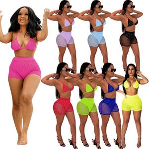 Mulheres Bikini 2 Dois conjuntos de peças Verão Sexy Swimsuit malha gaze Lantejoulas Lace Up Bra calções outfits Set Moda Biquinis Tankini senhora Swimwear