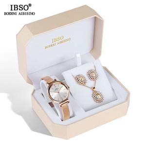 Ibso Marca Mulheres Design De Cristal Feminino Jóias Moda Criativa Relógio De Quartzo Brinco Colar Set Presente Da Senhora C19041202