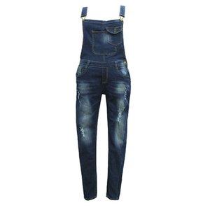 Kadın Vintage Delikler Mavi Tulumlar sapanlar Kolay İnce Denim Jeans tulum Bayan Denim Jumpsuit Kadın Yaz Tulumlar