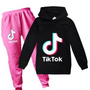 del capretto di modo tik tok vestiti impostato felpa con cappuccio pantaloni 2pcs per 2-16years i bambini le ragazze dei ragazzi Tiktok vestiti impostati tuta sportiva della molla