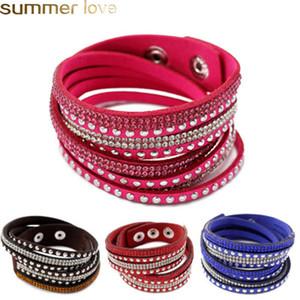 Nuovo cuoio Trendy Multilayer Wrap Bracciali PU fascino braccialetti dei braccialetti di cristallo strass per il regalo del partito delle ragazze delle donne Pulse Jewelry