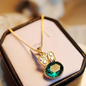 Изысканный Кролик Ожерелья Женская Мода Золотая Цепочка Зеленый Прекрасный Кролик Прекрасные Ожерелья Кулон Женщины Ювелирные Изделия Кристалл Ожерелье