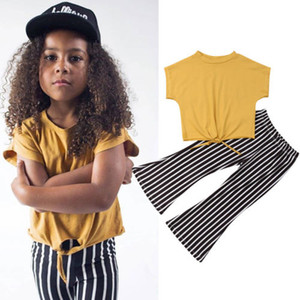 Kids Baby Girls Clothes Short Sleeve Tops Blouse+Striped Leggings Long Pants 2Pcs Fashion Outfits Set 2-7Y