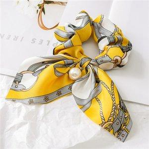 Retro Druck Scrunchies Streamers Perlen-Bogen-elastisches Hairband Pferdeschwanz-Halter-Haar-Seil-Frauen-Dame Designer Mode Haarschmuck HHAA851