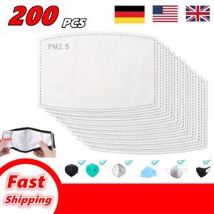 200PCS PM2.5 Filter für Gesichtsmaske Anti Haze Mundmaske austauschbares Filter-slice 5 Schichten Non-Woven-Aktivkohlefiltermasken Gasket AB01