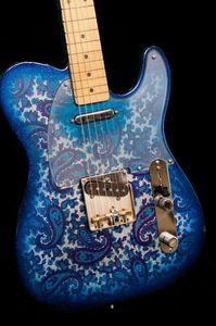 Abgenutzte Rare Straße Brad Paisley Unterschrift Blau Sparkle TL E-Gitarre Chrom Hardware Custom Shop China TL Gitarren