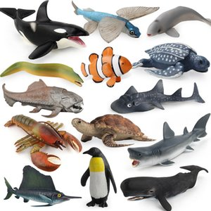 40-Model Solid Marine Organism Great White Whale Penguin Wild Animal Model Giraffe Insect Set