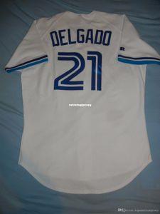 Pas cher Retro Top Russell Athletic # 21 CARLOS DELGADO Toronto Rookie Jersey 44 96 Hommes Cousu maillots de base-ball