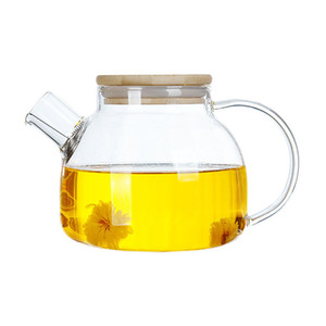 Stovetop Safe Glass Teapot for Loose Leaf Tea Bamboo Lid Borosilicate Glass Pitcher Kettle for Water Juice Flower Tea 1000ml