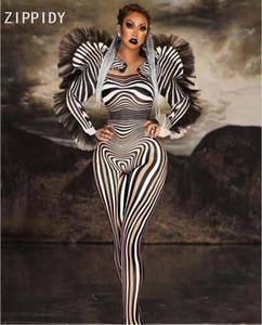 Nuovo stile zebra tuta Donne sexy cantante fase Outfit Bar DS di ballo di Cosplay la tuta costume Prom Abbigliamento